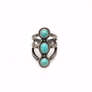 Faux Turquoise Silver Western Southwest Style Ring